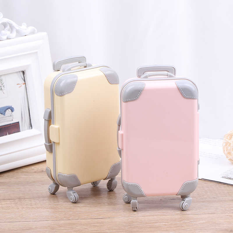 Mini Plastic Suitcase Luggage Play House Toys Travel Girl Doll Accessories