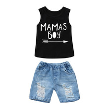 Get more info on the 2019 Fashion Toddler Baby Boys Clothing Baby Boy  Letter Print Vest Tops+Hole Denim Jean Shorts Outfits Set