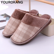 Men Shoes Winter Warm Indoor Home Slippers Gingham Plush Couple Household Slipper Soft Cotton Lovers Footwear Bedroom Flip Flops mntrerm 2018 winter warm indoor slipper for women s at fashion home slippers warm plush household shoes chinelos femininos botas