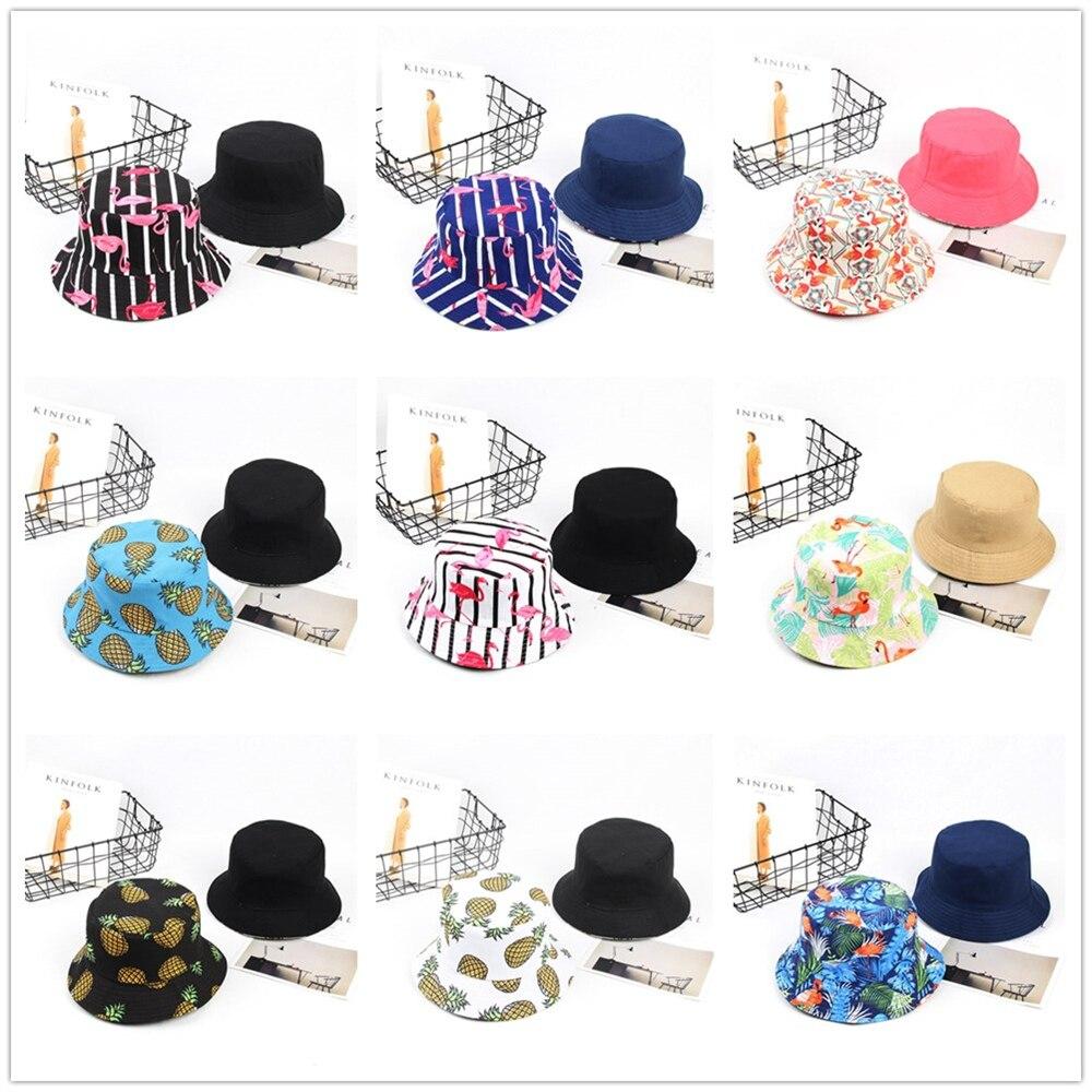 Sombrero con forma de cubo para mujer y hombre, sombrero con forma de flamenco, Unisex, doble cara, al aire libre para senderismo, gorra de pescador, protector solar, 032