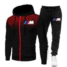 2021 Fashion Spring Men Sets Gradient Zipper BMW Hoodie+Pure cotton Pant Casual Tracksuit Male Sportswear Gym Brand Men Clothing
