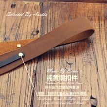 Cinturón de cuero genuino hecho a mano para colgar en el hombro, para cámara Leica Fuji Sony Canon Olympus, color marrón
