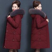 Женская зимняя куртка, зимняя куртка среднего возраста, Женская куртка с капюшоном и меховым воротником, длинное женское пуховое хлопковое пальто, женское теплое пальто