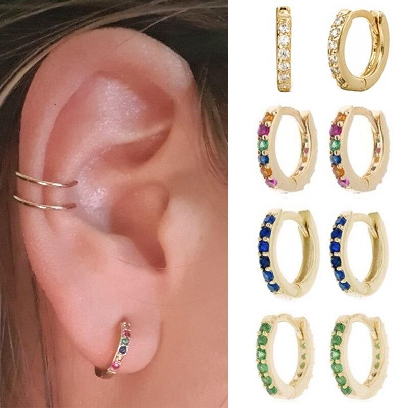 1 Pair Simple Girl's Huggie Small Hoop Earrings Rainbow Minimal Charming Ear Earrings Stud 8mm Thin Hoops Ear Piercing Cuff
