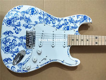 Chinese style blue and white porcelain guitar body five-pointed star fingerboard inlaid fingerboard electric guitar(China)