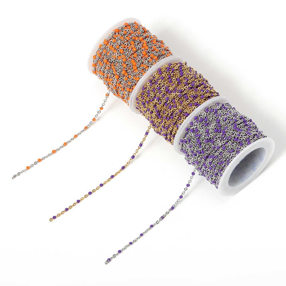 2 metry kabel ze stali nierdzewnej emalia złoty łańcuch luzem Link pętle złącze koralik naszyjnik Diy biżuteria materiały materiały hurtownia