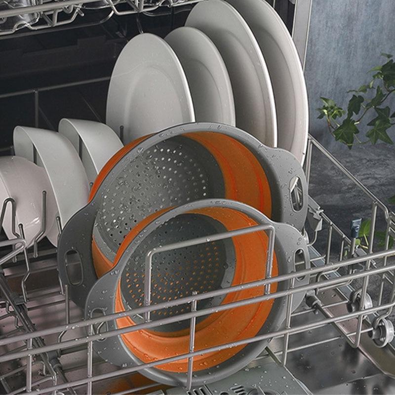 Stock Foldable Colander Food Grade Pasta Strainer Fruit Vegetable Washing Basket