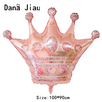 Dana jiau rose golden crown party foil Balloon 20 years old Happy Birthday decoration big golden crowns baby shower helium ball image