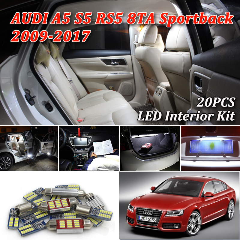 20pcs canbus error free LED bulb interior dome light kit package for <font><b>Audi</b></font> <font><b>A5</b></font> S5 RS5 8TA <font><b>sportback</b></font> (2009-2017) image