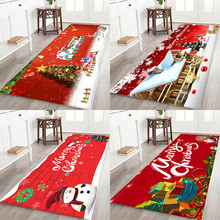 Christmas mat, holiday atmosphere, Santa Claus, elemental printed flannel home Anti-Slip absorbent mat
