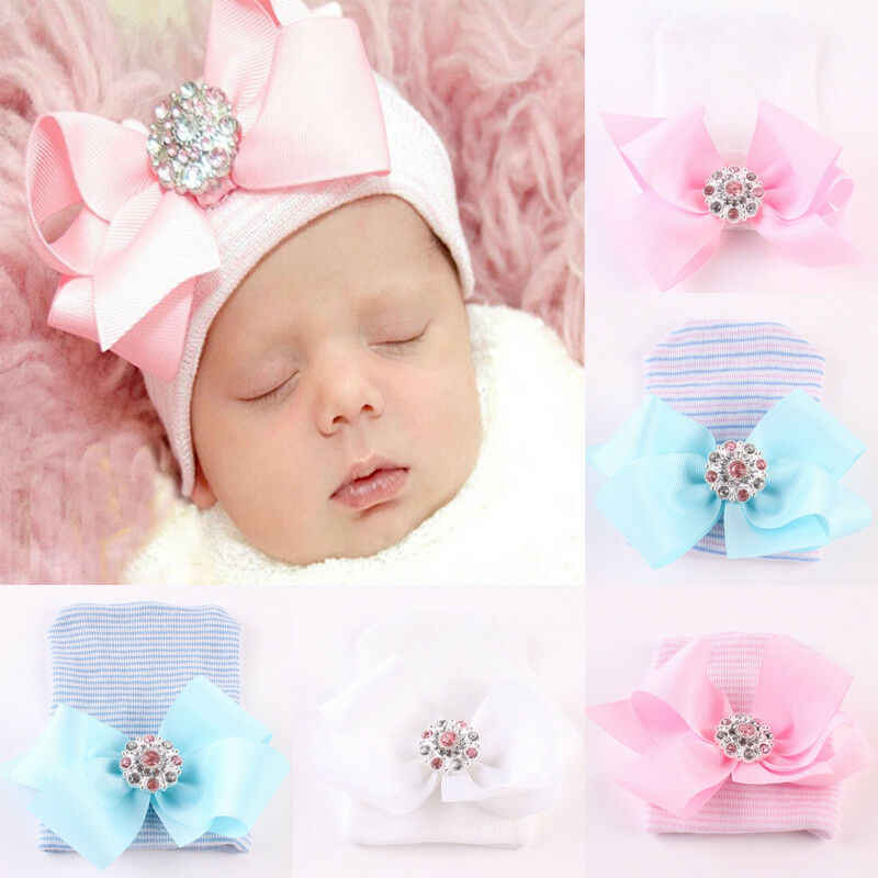 Goocheer Newest Cute Newborn Baby Girl Comfy Bowknot Hospital Cap Beanie Hat Headwear