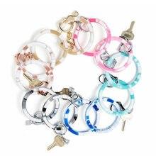 New Fashion Monogram PU Leather O Key Chain Custom Circle Wristlet Keychain Wholesale For Women Girls Jewelry
