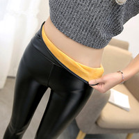 Warm Thermal Legins Women Push Up Leather Leggings Fleece Pants Woman Autumn Winter Black Pu Leather High Waist Legging Femme