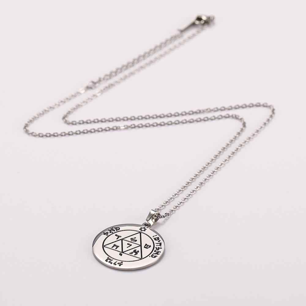 Klucz salomona okrągły naszyjnik pentagram jowisza Saturn gwiazda dawida talizman Amulet stalowe długie naszyjniki