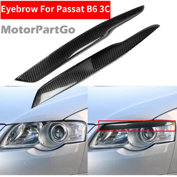 2PCS Car Styling Real Carbon Fiber Headlight Eyebrow Eyelids For Passat B6 3C Decal Trim Cover Sticker Accessory 2005-2010 V098 1