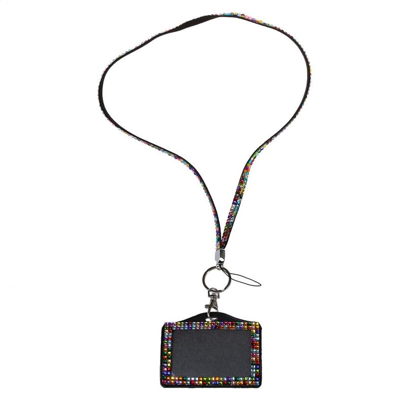 Horizontal Resin Rhinestone Work Card ID Case Holder Lanyard Sling (Multicolor)