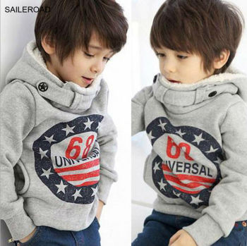 Children Winter Thicker Boys Sweatshirts Coat Long Sleeve Kids Coat Fit 2-7ages