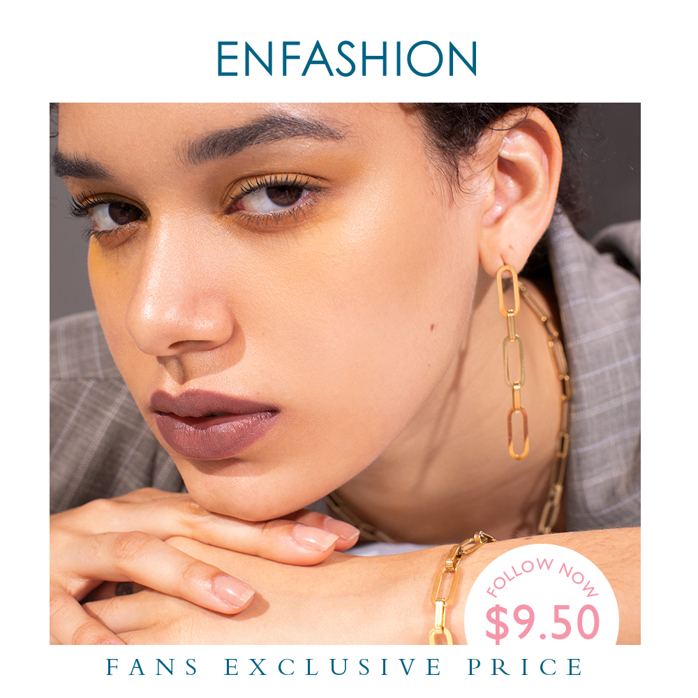 ENFASHION Punk Link Chain Drop Earrings For Women Gold Color Long Tassel Simple Dangle Earings Fashion Jewelry Pendientes E1119