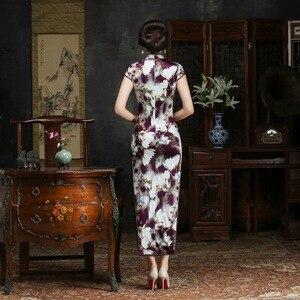 Image 3 - 2019 verkauf Echt Frühjahr/sommer Outfit Täglichen Verbesserte Lange Cheongsam, Die Alte Weisen Von Kultivieren Moral Seide Kleid Qipao