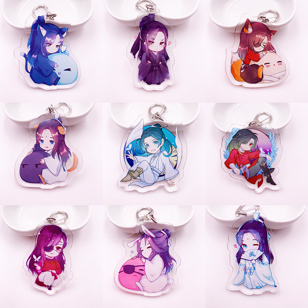 Cute Anime Tian Guan Ci Fu Key Chain Holder Fashion Cartoon Heaven Offical's Blessing Keyrings Keychains Jewelry Collection Gift