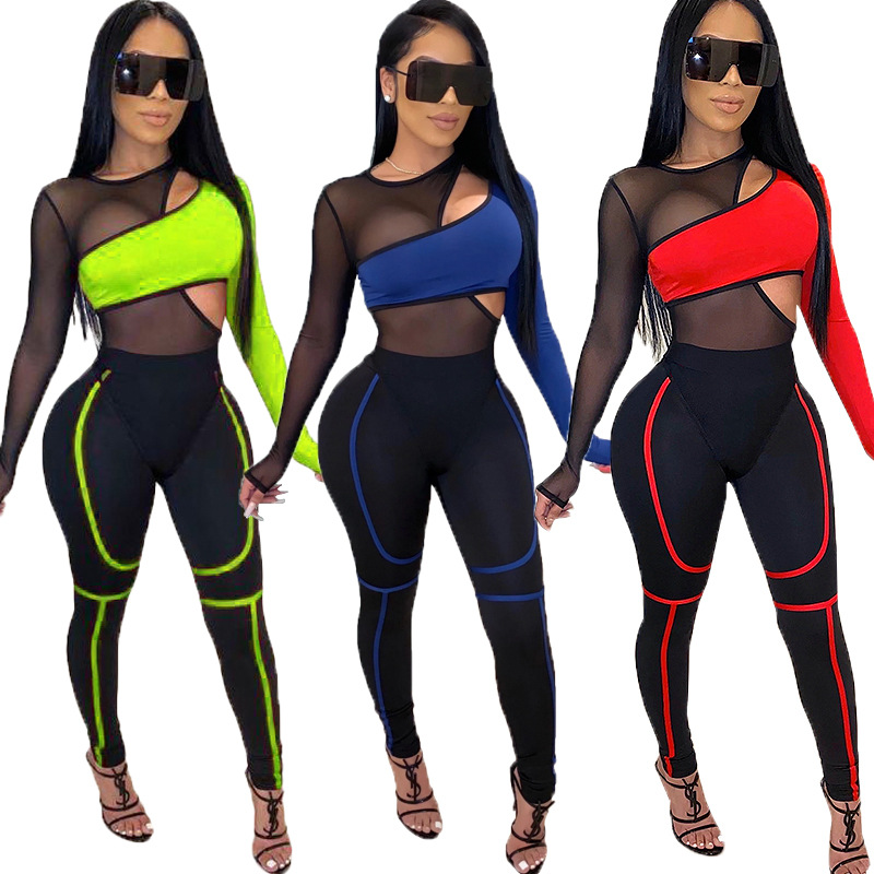 2 Piece Joggers Set Women Mesh Patchwork Tracksuit Outfits Sportswear Neon Clothing Matching Sets Jogging Femme Plus Size