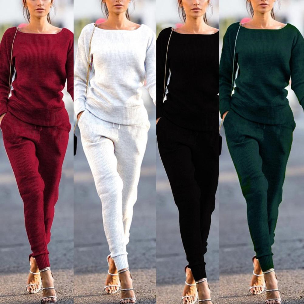 2Pcs Women Autumn Solid Color Ribbed O Neck Top Drawstring Pants Sport Tracksuit