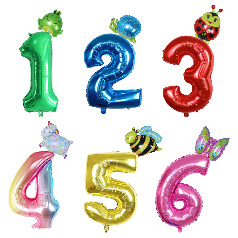2pcs 30inch Number Foil Balloons Mini Frog Snails Animal Balloon Bee Butterfly <font><b>1</b></font> 2 3 4 5 6 Kids <font><b>Birthday</b></font> <font><b>Party</b></font> <font><b>Decoration</b></font> Baloon image