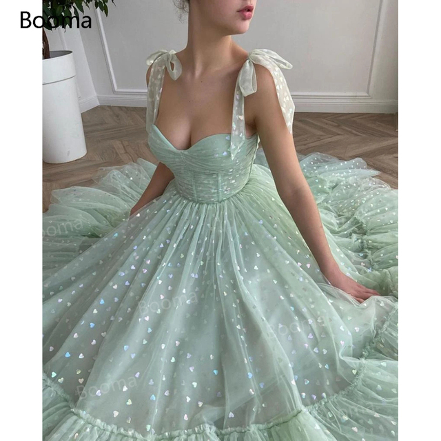 Booma Mint Green Hearty Prom Dresses 2021 Tied Bow Straps Sweetheart Midi Prom Gowns Pockets Tea-Length Wedding Party Dresses 3