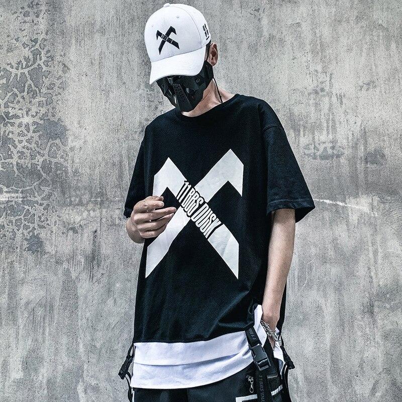 Мужские футболки с лентами в стиле хип-хоп, повседневные свободные тактические футболки с буквенным принтом для танцев