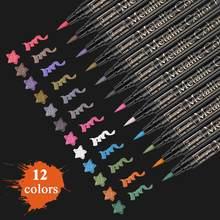 Metallic Marker Pen-Set 12 Farben Metallic Pinsel Marker Stift für Schwarz Papier Sammelalbum Kunst Rock Malerei Karte, Der Färbung