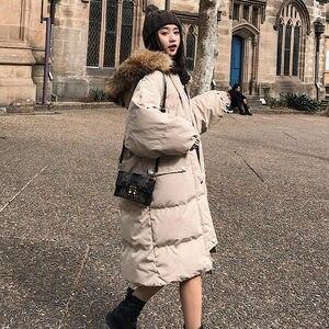 Image 4 - Długa kurtka zimowa kobiety Parka luźne ciepłe grube dół bawełna płaszcz kobiet wyściełane Oversize Student z kapturem kobieta kurtka zimowa Q2028