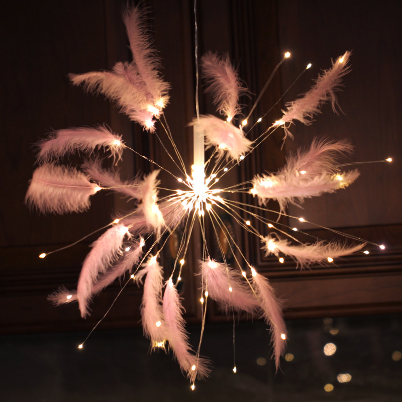 Wedding Decoration Fairy Lights LED Fireworks String Pink Feather Battery Type Decorative Lights Flash For Room Party Desk