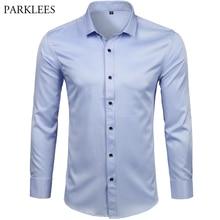 Männer Bambus Faser Kleid Shirts Casual Slim Fit Langarm Männlich Social Shirts Komfortable Nicht Eisen Solide Chemise Homme blau