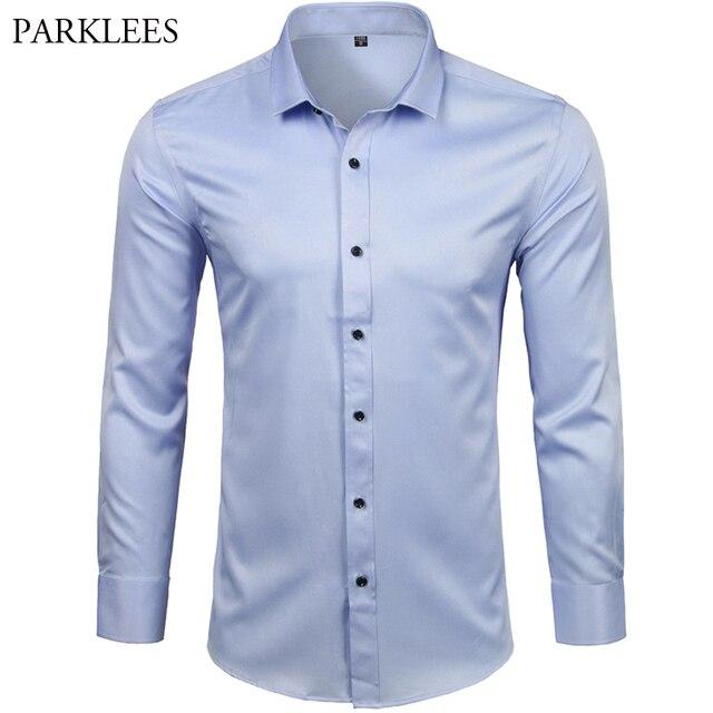 גברים של במבוק סיבי שמלת חולצות מקרית Slim Fit ארוך שרוול זכר חולצות חברתיות נוח ללא ברזל מוצק תחתונית Homme כחול