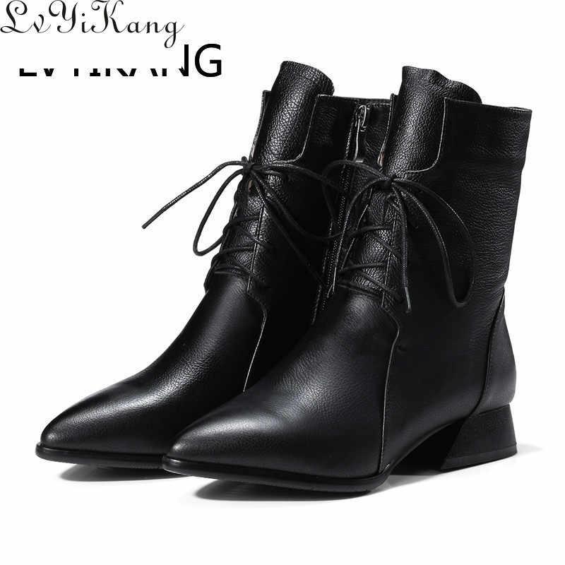 2019 couro genuíno marrom apontou toe botas de tornozelo feminino salto baixo quadrado primavera e outono botas de tornozelo femininas zapatos de mujer