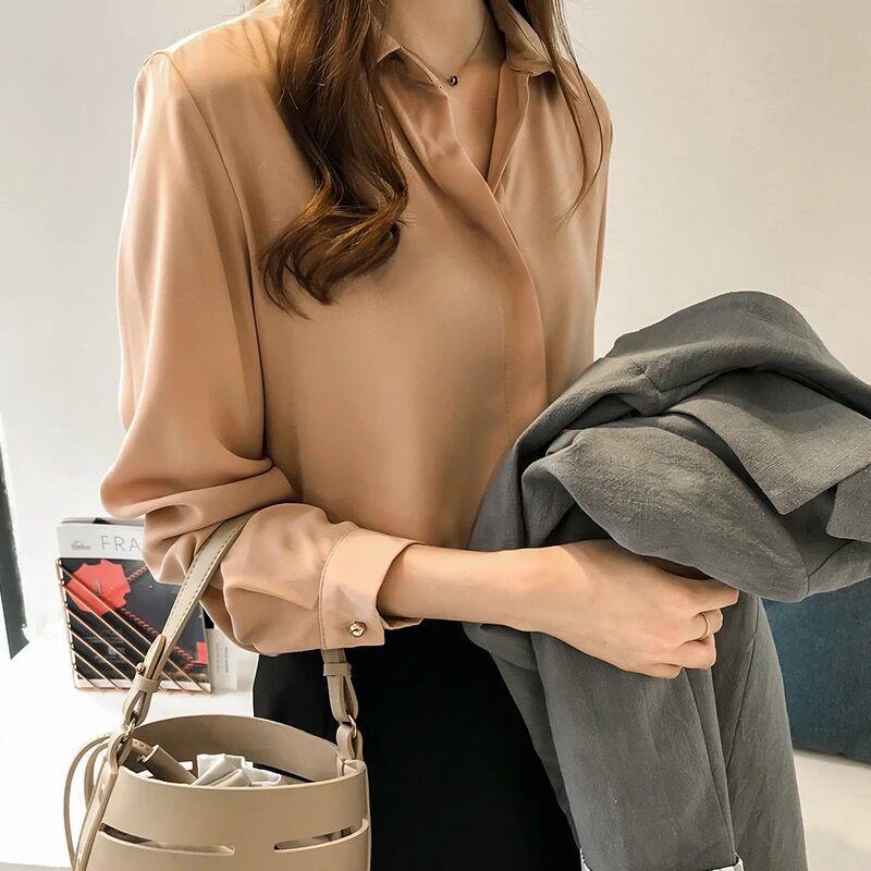 2019 frühling Kleidung Neuen Stil Korean stil Elegante Einfarbig Shirt Frauen Langarm Tops Einfache Ol Chiffon Hemd basis Shirt