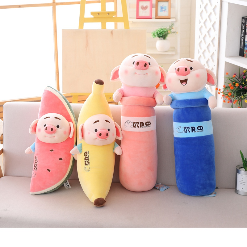 1pc 60-70cm Funny Simulation Watermelon/Banana Pig Plush Toy Soft Cartoon Animal Long Shape Cylinder Stuffed Doll Nap Pillow