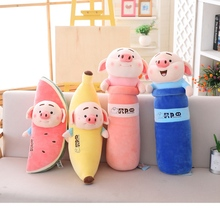 1pc 60-70cm Funny Simulation Watermelon/Banana Pig Plush Toy Soft Cartoon Animal Long Shape Cylinder Pig Stuffed Doll Nap Pillow 1pc 40cm simulation lovely stuffed pig toy soft animal pig doll cute cartoon pig pillow kids toy creative birthday gift for girl