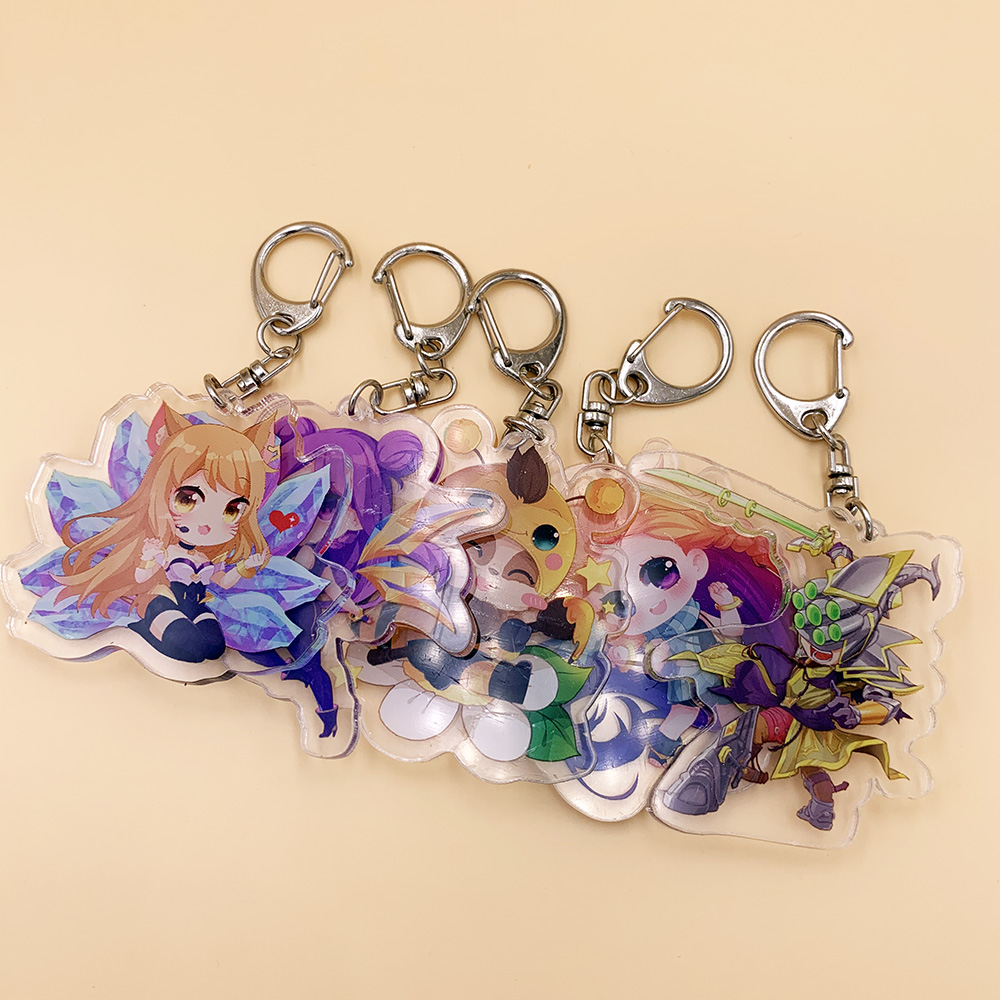 Game League Of LOL Cosplay Key Chain Anime Legends KDA Kaisa Ahri RAKAN XAYAH Acrylic Key Pendants Boyfriend Gifts