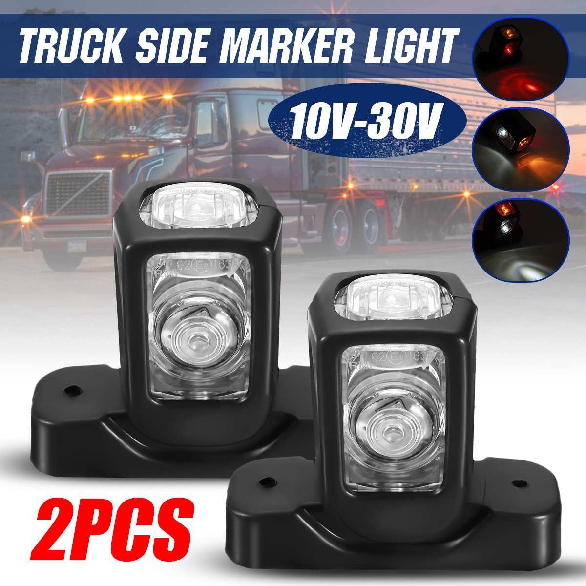 2x LED White roof front corner marker lights 12V 24V E9 marked for truck lorry trailer bus