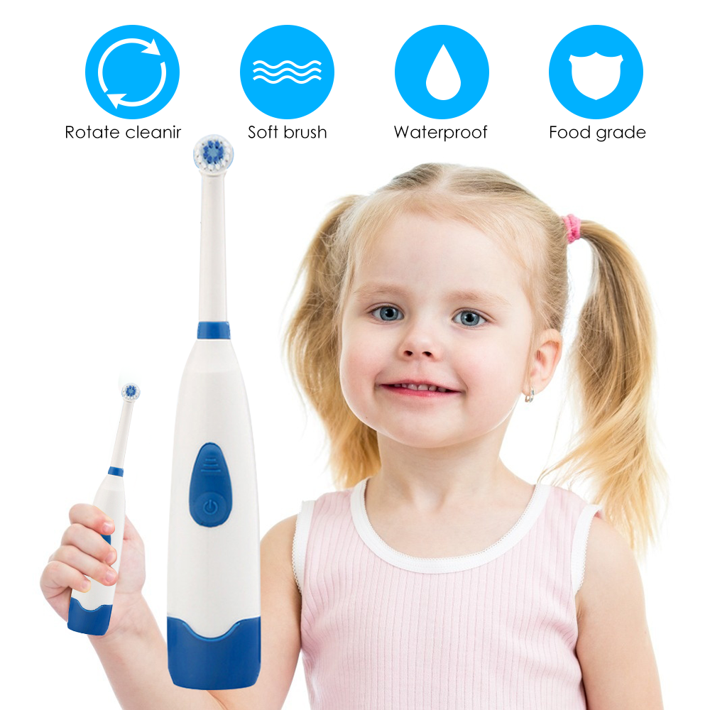20 New Children Electric Toothbrush Teeth Whitening Rotating Child Electric Toothbrush With Waterproof Brush 2 Head Replace Gift