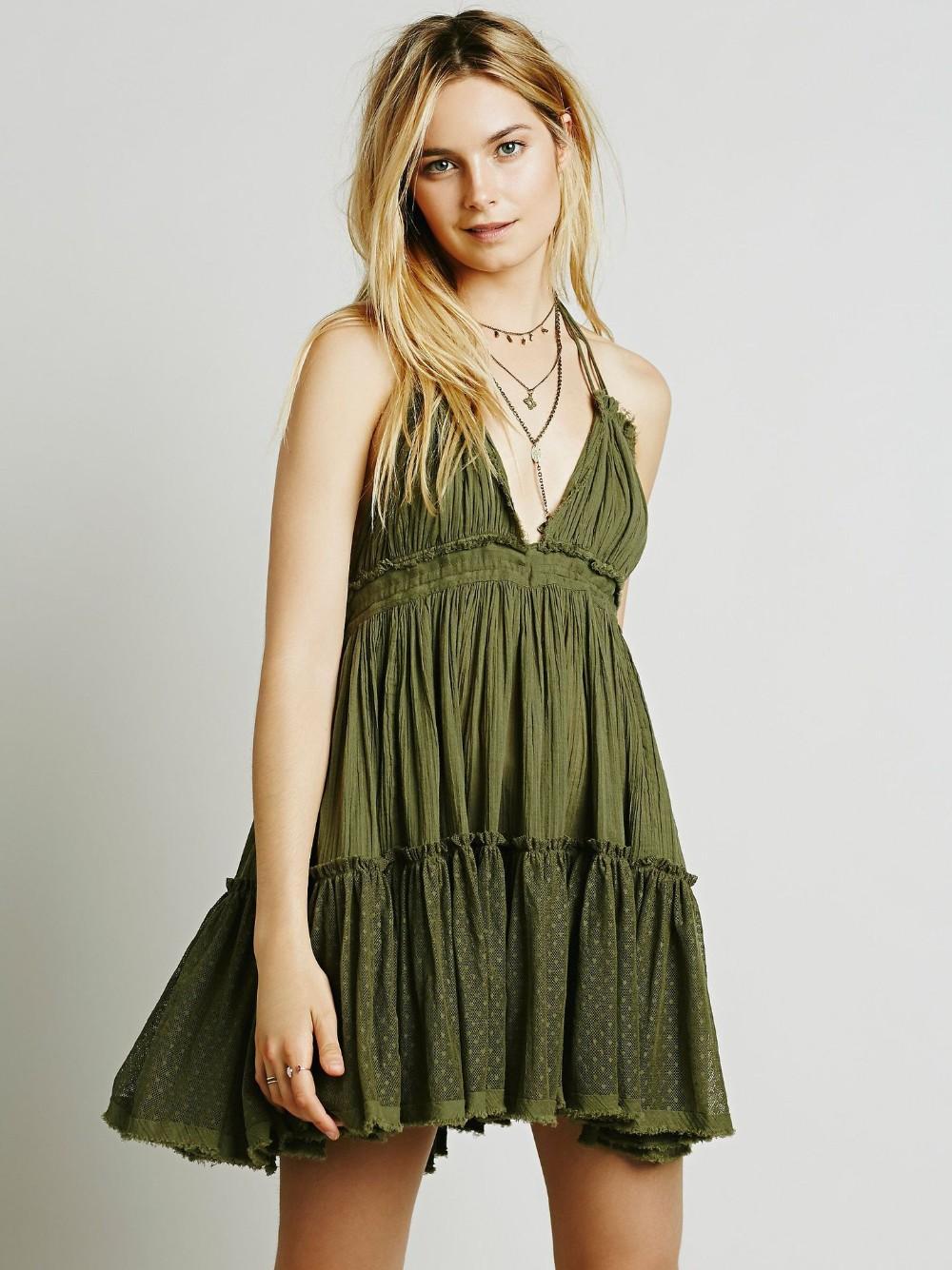 Women's Summer Halter Deep V Neck Sexy Patchwork Mini Short Dresses 3