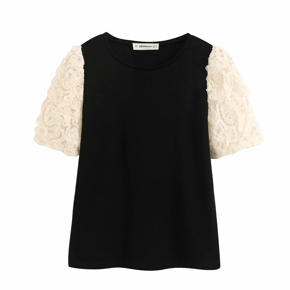 New Women Elegant Lace Short Sleeve Patchwork Casual Slim Knitted Blouse Ladies O Neck Chic Femininas Shirts Brand Tops LS6379
