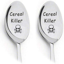 Skull Cereal Killer Spoons, Stainless Steel Coffee Spoon Pack of 2 Set Gift for Couple Lovers Dropshipping Hot Cutlery Tableware