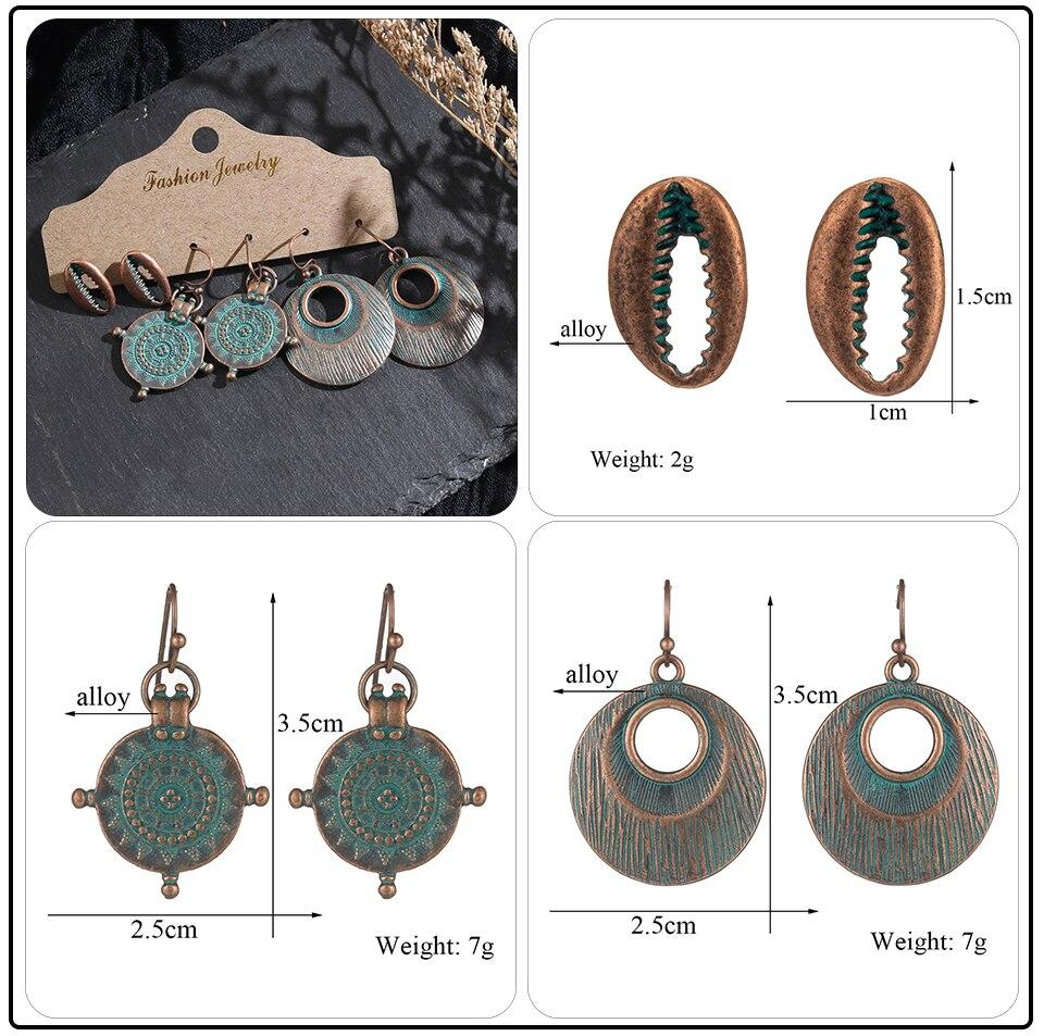 Bohemian Bronze Big Flowers Drop Earrings for Women 10 Style Vintage Leaf Metal Tassel Fringe Hanging Earring Females Jewelry (5)