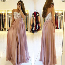 Bridesmaid-Dresses Wedding Ball-Gowns Pink Dress Lace Party Guest Elegant Women Long