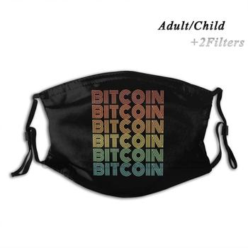 Bitcoin Vintage Retro Cryptocurrency Reusable Mouth Face Mask With Filters Kids Bitcoin Hodl Btc Crypto Cryptocurrencies Iota image