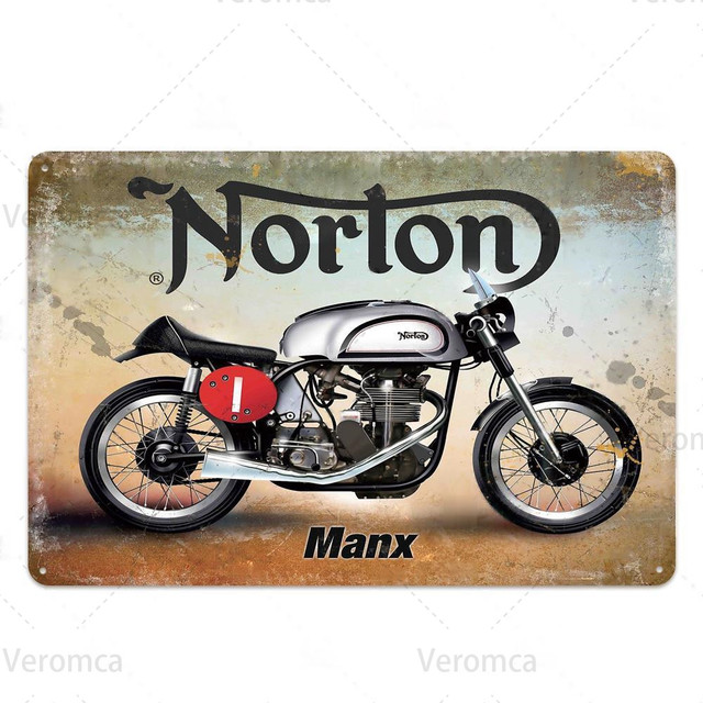 Route 66 MOTORCYCLE Red Retro Tin Plate 10