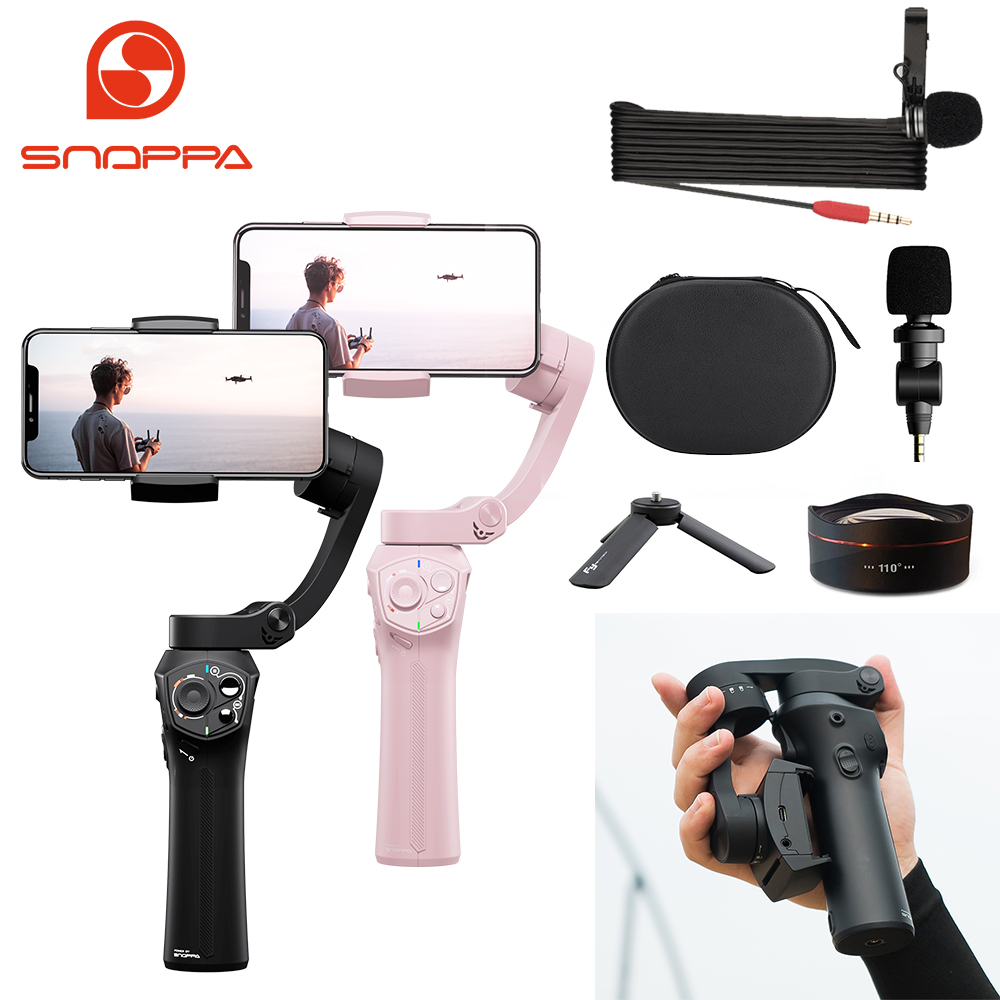 Snoppa Atom a Pocket Sized Foldable 3 axis Smartphone Handheld Gimbal Stabilizer w/Focus Pull & Zoom for iPhone 11 P