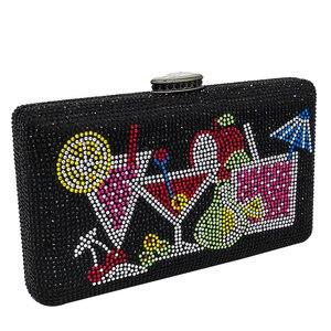 Image 3 - Boutique De FGG Bolso De mano con cristales deslumbrantes para mujer, cartera De mano para cócteles, boda, fiesta, novia